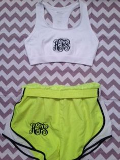 $45.00 for monogrammed running shorts and sports bra combo-- love!! <3 Repin for 10% off! Promo code PINTCODE!