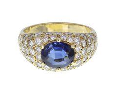 Sapphire and Diamond Bombé Style Ring by TrafalgarJewellers