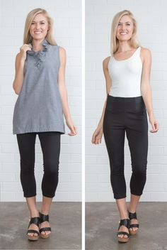We love these cropped capri leggings with control top waistband! By Simply Noelle