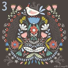 Flora Waycott  http://www.florawaycottdesign.com/ Christmas Advent Day 3 #christmasadvent #christmas #illustration