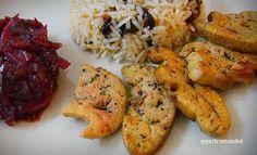 Sült libamáj lilahagymalekvárral, aszalt szilvás rizzsel recept Chicken, Food, Essen, Meals, Yemek, Eten, Cubs
