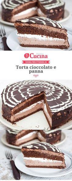 Torta cioccolato e panna Torte Cake, Pie Cake, Sweet Recipes, Cake Recipes, Tortillas Veganas, Kolaci I Torte, Sweet Cakes, Sweet And Salty, Ice Cream Recipes