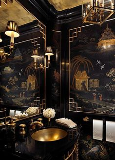 Black and gold chinoiserie powder room