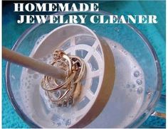Homemade Jewelry cleaner: 1 TBSP salt 1 TBSP baking soda 1 TBSP dish soap (or Dr. Bronners Castile soap) 1 cup water  1) Heat water for 1 to 2 minutes. 2) Pour hot water in bowl. Place salt, soda, and soap in bowl. 3) Place jewelry in bowl for 5-10 minutes. 4) Rinse jewelry with cool water and dry with soft cloth. Discard batch and make a new one each time you use.