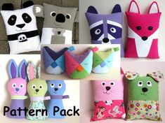 Five pack cute pillow sewing pattern bundle, great as gifts for girls or baby gifts. Includes panda pillow, koala pillow, raccoon pillow, fox pillow, dog and cat pillows, owl in two sizes and stuffed bunny with two ear and face options.