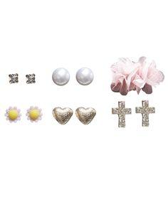 Chiffon Flower & Cross Mixed Earring Set