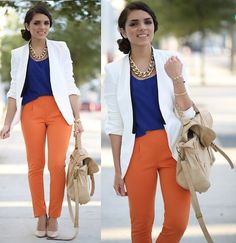 Zara White Blazer, Blaque Muse Blue Top, Orange Pants, Nude Pumps, Mimi Boutique Nude Bag, Chain Necklace | Professional but fun (by Daniela Ramirez) | LOOKBOOK.nu