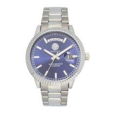 "Michael Zweig ""Aulos SL "" 38 mm Mid Size,  Day Date Fluted Bezel Luxury Steel Band Watch-MZ-509B"