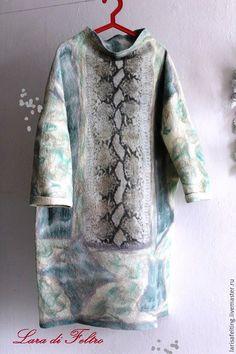 Купить Валяное платье кокон туника оверсайз большие размеры - мятный, звериная расцветка