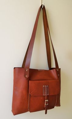 Whiskey Tan Leather Tote/Leather Bag with by PeregianCoastLeather