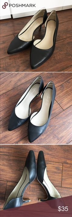 "Leather Pointed Toe Heels Black leather. Wide width. Heel is 2.25"" tall. Comes in original box. Shoes of Prey Shoes Heels"