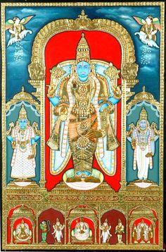 Narayana-vishnu-with his consorts