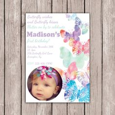 Printable butterfly invitation second birthday invite spring hey i found this really awesome etsy listing at httpsetsylisting253469609printable photo butterfly invitation filmwisefo