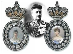 Portrait badge of Empress Maria Feodorovna and of Empress Alexandra Feodorovna. Courtesy Sergei Patrikeev. Paired with a photograph of their recipient, E. A. Naryshkina, who received the first in 1891 and the second in 1912.
