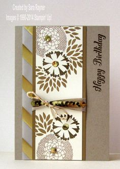 Sale-a-bration Petal Parade and gold trimmed birthday card - Stampin' Up!