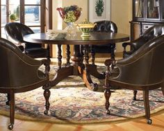 thomasville hemingway chairs for sale   Thomasville Furniture Ernest Hemingway Lillas Round Dining Table ...