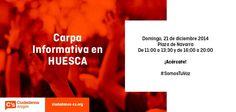 Ciudadanos C's Huesca - Aragón @Cs-aragon Plaza Navarra Domingo, 21 de Diciembre De 11 a 13:30 y de 16 20 horas ¡Acércate! #somosTuVoz Aragón se mueve.