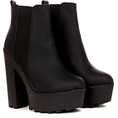 Rena Matt PU Heeled Chunky Ankle Boot in Black ($43) ❤ liked on Polyvore featuring shoes, boots, ankle booties, heels, botas, black, chunky heel bootie, heeled booties, black boots and black ankle boots
