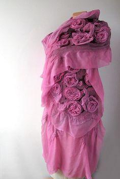 Nuno felted scarf - Burgund Roses by GalaFilc, via Flickr #nunofelted #felted #scarf #wool #silk #felting #pink #burgund #flowers