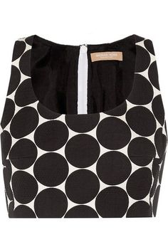 Michael Kors Collection - Cropped Polka-dot Cotton And Silk-blend Matelassé Top - Black - US2