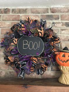 Halloween wreath deco mesh/chalkboard/boo! by TillysDecor on Etsy https://www.etsy.com/listing/549237936/halloween-wreath-deco-meshchalkboardboo
