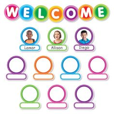 Welcome students back to school with this modern, colorful bulletin board set. Personalize labels with student photos or drawings. 44 large letters spelling W-E-L-C-O-M-E diameter), 37 student labels x teaching guide Welcome Students, New Students, Classroom Displays, Classroom Decor, Classroom Welcome Boards, Birthday Graph, Colorful Bulletin Boards, Student Birthdays, Student Photo
