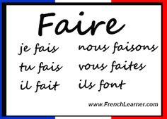 En este enlace podemos aprender expresiones que se usan en francés con el verbo ''FAIRE'' que significa hacer. Para la realización de actividades deportivas, musicales, domésticas o para hablar del tiempo, en francés se usa este verbo. http://languagelearningbase.com/86752/expressions-avec-le-verbe-faire