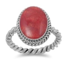 Ladies Chunky Silver Ring 7 N Sterling Silver Bohemian Orange Red Stone New