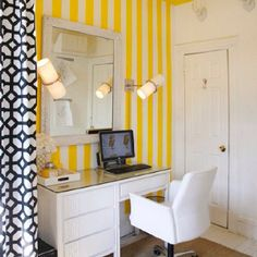 Yellow Black And White Office Home Guest Room