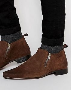 f7a33319a ASOS Zip Chelsea Boots in Brown Suede Formal Shoes