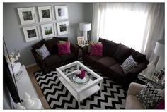 dark brown couch White Class top table, White Curtains Teal and tan accents. by celina.neo