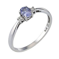 White Gold Tanzanite & Diamond Ring