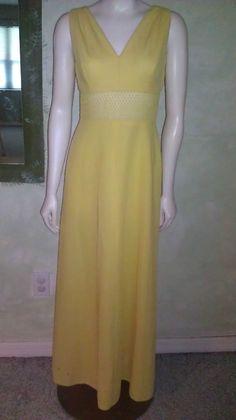 873e19f24b Vintage 1960s Dress Mod Canary Yellow Maxi Peekaboo Type Lattice Waist Sz  S M