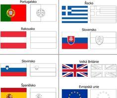 Vlajky 28 zemí Evropské unie ve formě omalovánek