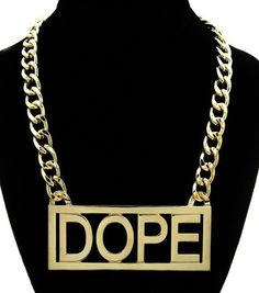 """Gold """"DOPE"""" Rectangle Box Statement Necklace Basketball Wives Jewelry Hip Hop"""