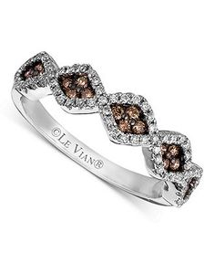 Le Vian Diamond Ring, 14k White Gold Chocolate and White Diamond Zigzag (3/8 ct. t.w.) - Rings - Jewelry & Watches - Macy's