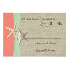Destination Wedding Reception Cards Beach Amore Shell Coral and Mint Response Card