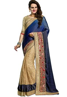 #Blue And #Beige #Crush #Georgette And #Net #Saree With #Blouse.  Blue And Beige Crush Georgette And Net Saree designed with Zari,Resham Embroidery With Stone Work And Lace Border.  INR:4,359.00  With Exclusive Discounts  Grab:http://tinyurl.com/hn5d9sc