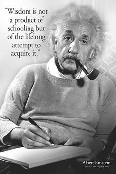 Wisdom is not a product of schooling but of the lifelong attempt to acquire it. Albert Einstein