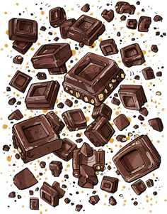 Lluvia de endorfinas Chocolate Quotes, Chocolate Art, Chocolate Lovers, Art And Illustration, Food Illustrations, Watercolor Illustration, Chocolate Drawing, Watercolor Food, Food Drawing