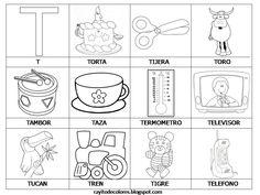 dibujos para colorear palabras con t