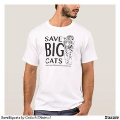 Shop SaveBigcats T-Shirt created by CedarhillAnimal. Closet Staples, Shop Now, Fitness Models, Cat, Casual, Sleeves, Mens Tops, How To Wear, T Shirt