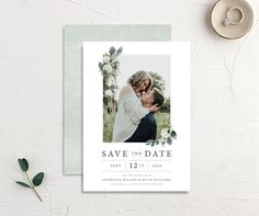 Greenery Branches Save the Date Cards Announcement Cards, Wedding Announcements, Save The Date Postcards, Save The Date Cards, Modern Save The Dates, Wedding Stationary, Card Sizes, Branches, Wedding Details