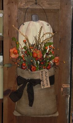 Primitive White Pumpkin Wall Board with Prim Fall Florals Homespun and Grungy Tag
