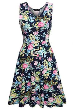 ACEVOG Women Mini Dress Floral Sleeveless Cocktail Party Evening Dress Navy Blue S -- Learn more by visiting the image link.