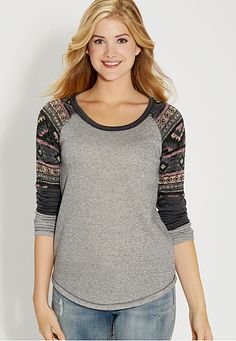 french terry pullover with ethnic knit (original price, $34) available at #Maurices - Large