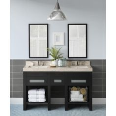 A bit more compact, this double vanity has a stone vanity top and great storage space!
