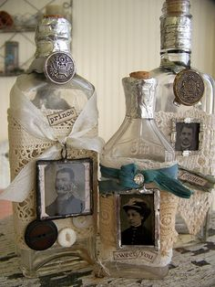 Bottles with old rhinestones, buttons, soldered tintypes, antique lace and more....