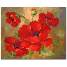 Add a dose of bright red with this floral art canvas, and instantly energize drab decor. The contemporary image of poppy flowers adds a bold but feminine touch to any room. The gallery-wrapped canvas measures 26 x 32, and arrives ready to be hung.