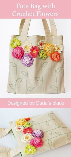 c83c0fdee You can make an ordinary tote bag beautiful if you just add colorful  crochet flowers!